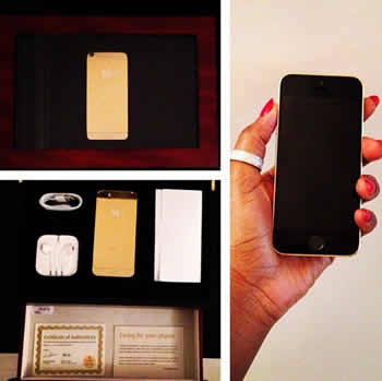 Genevieve Nnaji's Gold Plated Iphone